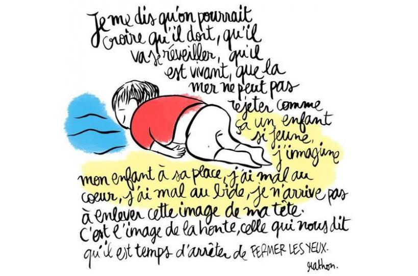 Des dessins à la mémoire d'Aylan, l'enfant syrien échoué sur la plage