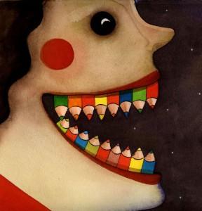 bouche dents crayons